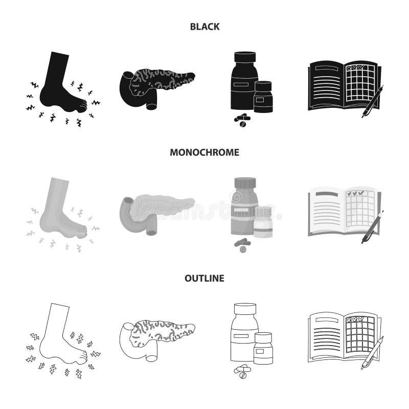 Vectorontwerp van dieet en behandelingssymbool Reeks van dieet en de vectorillustratie van de geneeskundevoorraad royalty-vrije illustratie
