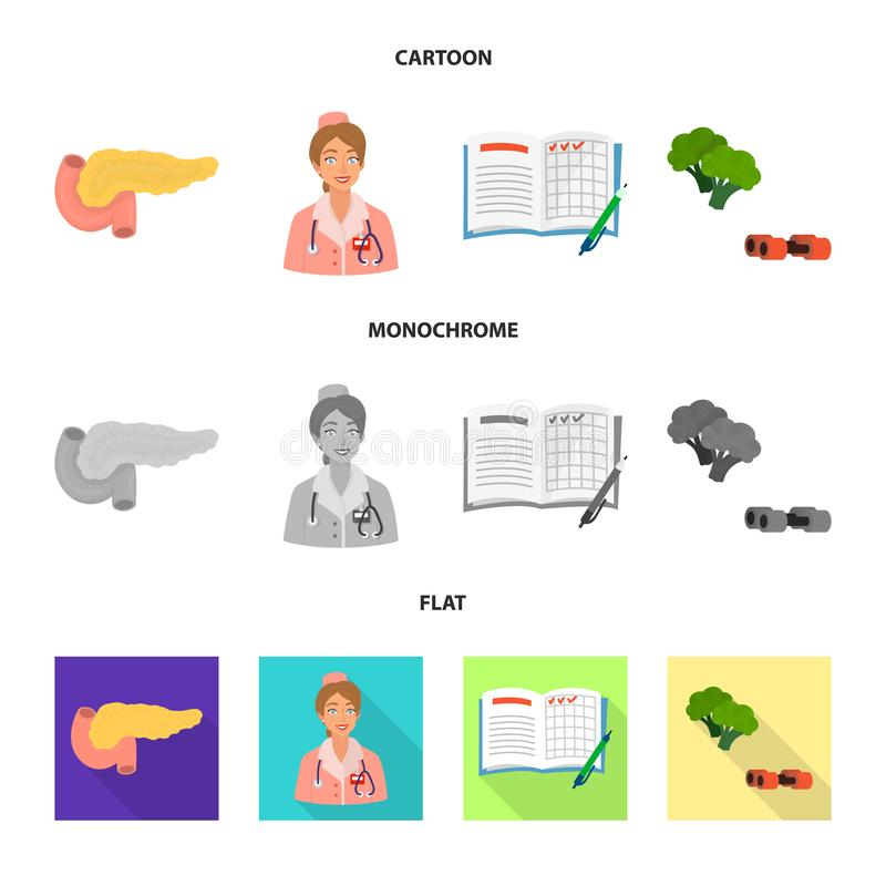Vectorontwerp van dieet en behandelingssymbool Reeks van dieet en geneeskunde vectorpictogram voor voorraad stock illustratie