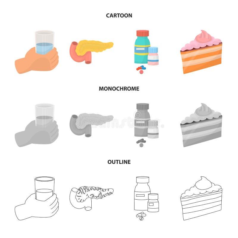 Vectorontwerp van dieet en behandelingsteken Inzameling van dieet en de vectorillustratie van de geneeskundevoorraad stock illustratie