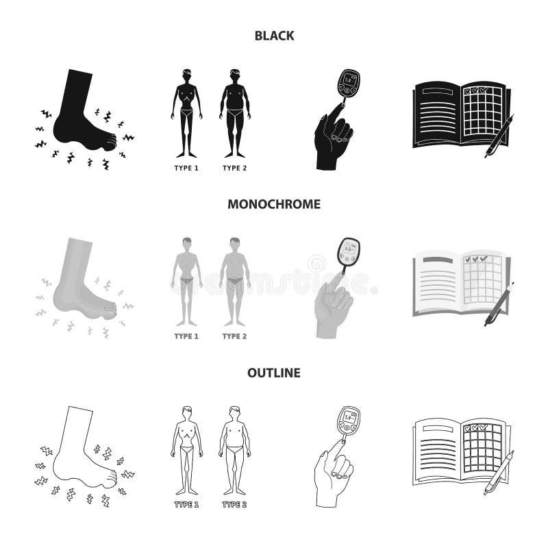Vectorontwerp van dieet en behandelingsteken Reeks van dieet en het symbool van de geneeskundevoorraad voor Web royalty-vrije illustratie