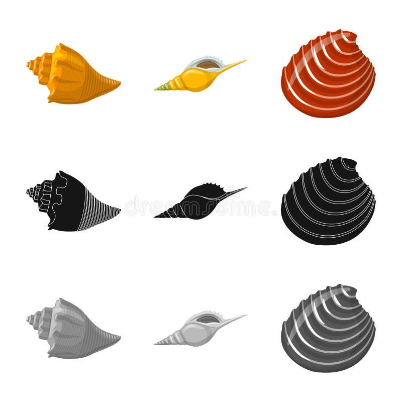 Vectorontwerp van dier en decoratieembleem Inzameling van dierlijk en oceaanvoorraadsymbool voor Web stock illustratie