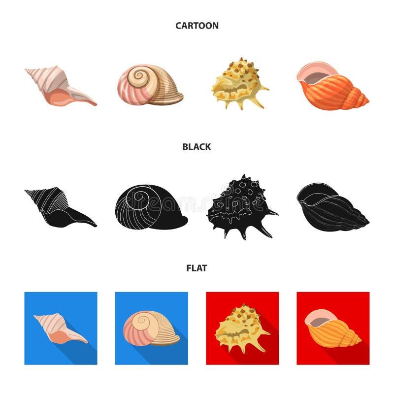 Vectorontwerp van dier en decoratieembleem Inzameling van dierlijk en oceaanvoorraadsymbool voor Web royalty-vrije illustratie
