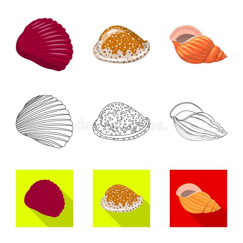 Vectorontwerp van dier en decoratieembleem Reeks van dierlijke en oceaanvoorraad vectorillustratie stock illustratie
