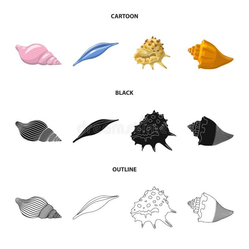 Vectorontwerp van dier en decoratiepictogram Inzameling van dierlijk en oceaanvoorraadsymbool voor Web stock illustratie