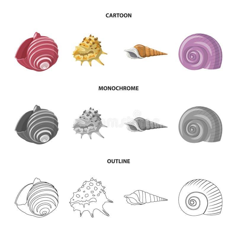 Vectorontwerp van dier en decoratiepictogram Inzameling van dierlijke en oceaanvoorraad vectorillustratie royalty-vrije illustratie