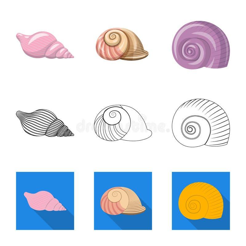 Vectorontwerp van dier en decoratiepictogram Inzameling van dierlijke en oceaanvoorraad vectorillustratie stock illustratie