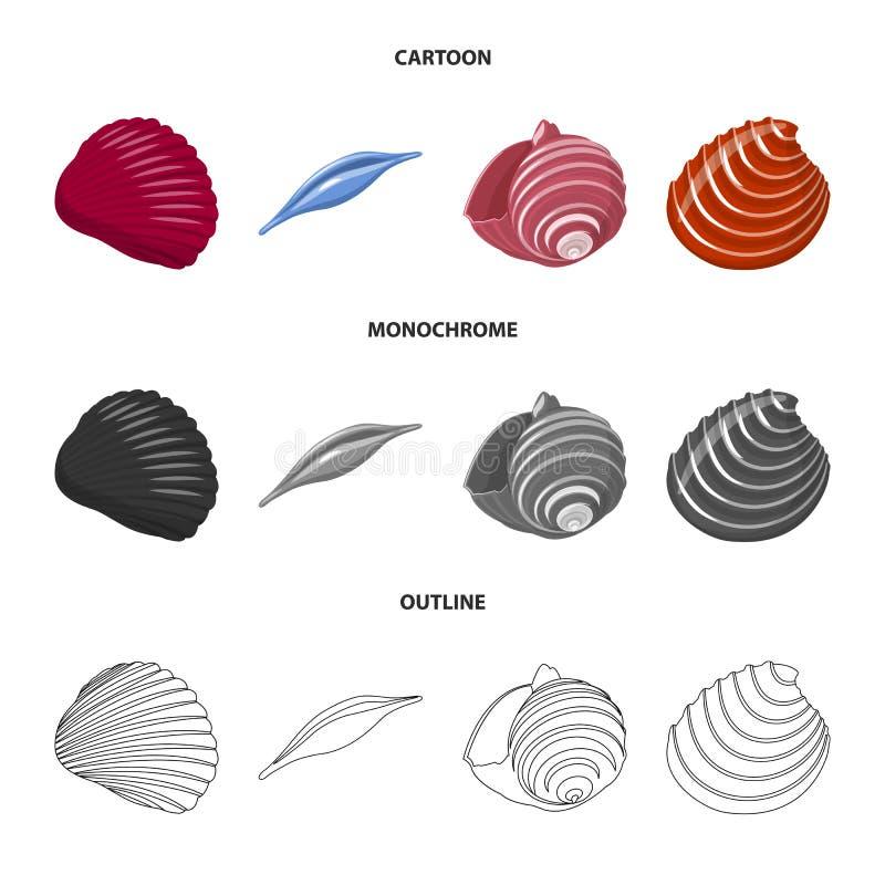 Vectorontwerp van dier en decoratiepictogram Reeks van dierlijk en oceaanvoorraadsymbool voor Web stock illustratie