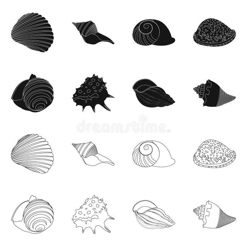 Vectorontwerp van dier en decoratiepictogram Reeks van dierlijk en oceaanvoorraadsymbool voor Web royalty-vrije illustratie