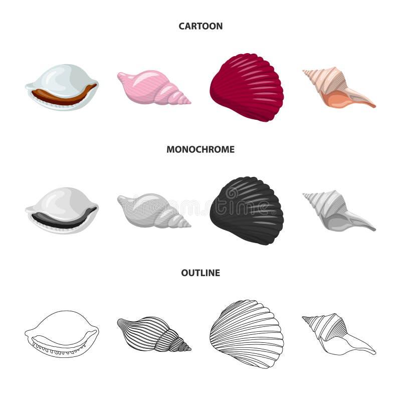 Vectorontwerp van dier en decoratiesymbool Reeks van dierlijk en oceaan vectorpictogram voor voorraad royalty-vrije illustratie