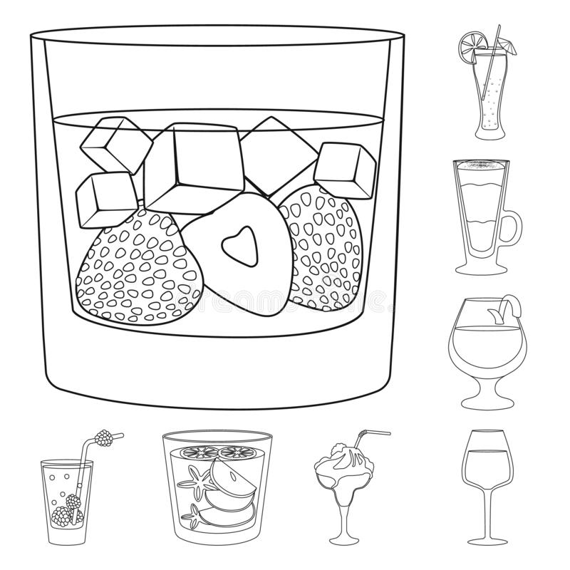 Vectorontwerp van drank en ijsteken Reeks van drank en schudbekervoorraadsymbool voor Web royalty-vrije illustratie