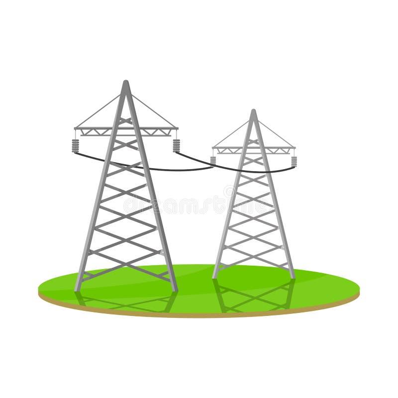 Vectorontwerp van elektrisch en netwerkembleem Reeks van het symbool van de elektrische en transmissievoorraad voor Web stock illustratie