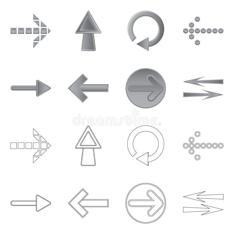 Vectorontwerp van element en pijlembleem Reeks van element en richtingsvoorraadsymbool voor Web royalty-vrije illustratie