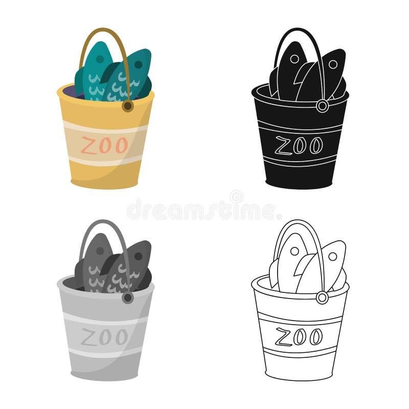 Vectorontwerp van emmer en vissenteken Inzameling van emmer en het symbool van de visserijvoorraad voor Web stock illustratie