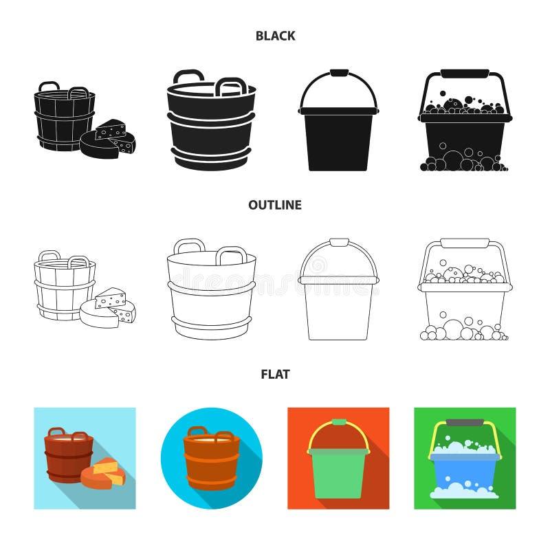 Vectorontwerp van emmer en watersymbool Reeks van emmer en volledig vectorpictogram voor voorraad royalty-vrije illustratie