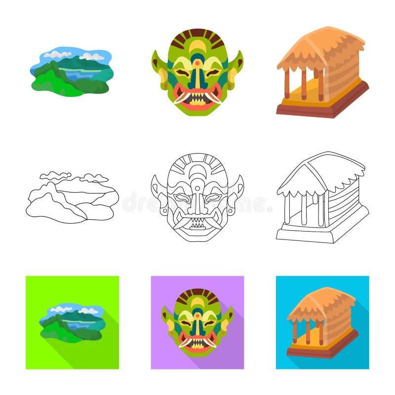Vectorontwerp van en reisteken Inzameling van en traditioneel voorraadsymbool voor Web stock illustratie
