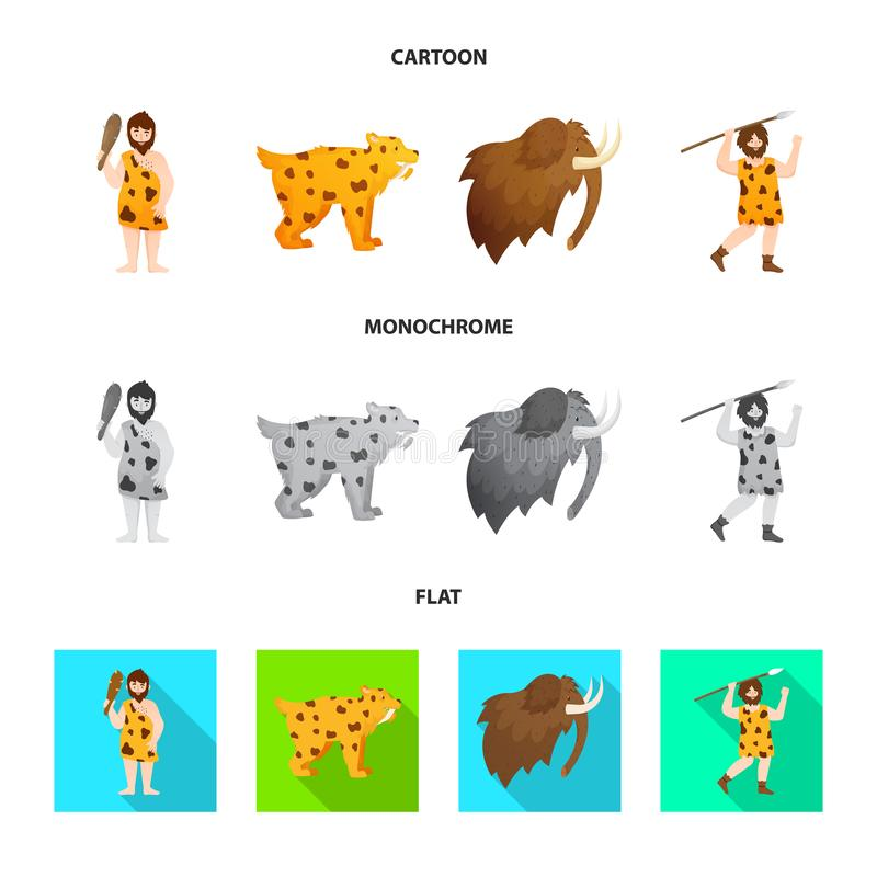 Vectorontwerp van evolutie en neolithisch pictogram Reeks van evolutie en ongerepte voorraad vectorillustratie stock illustratie