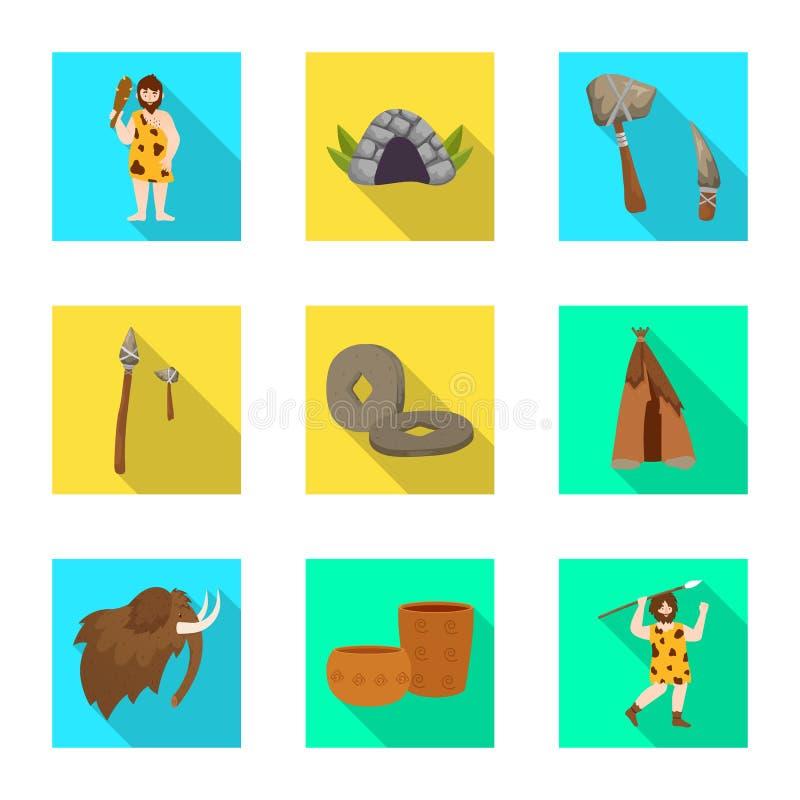 Vectorontwerp van evolutie en neolithisch symbool Inzameling van evolutie en ongerept vectorpictogram voor voorraad royalty-vrije illustratie