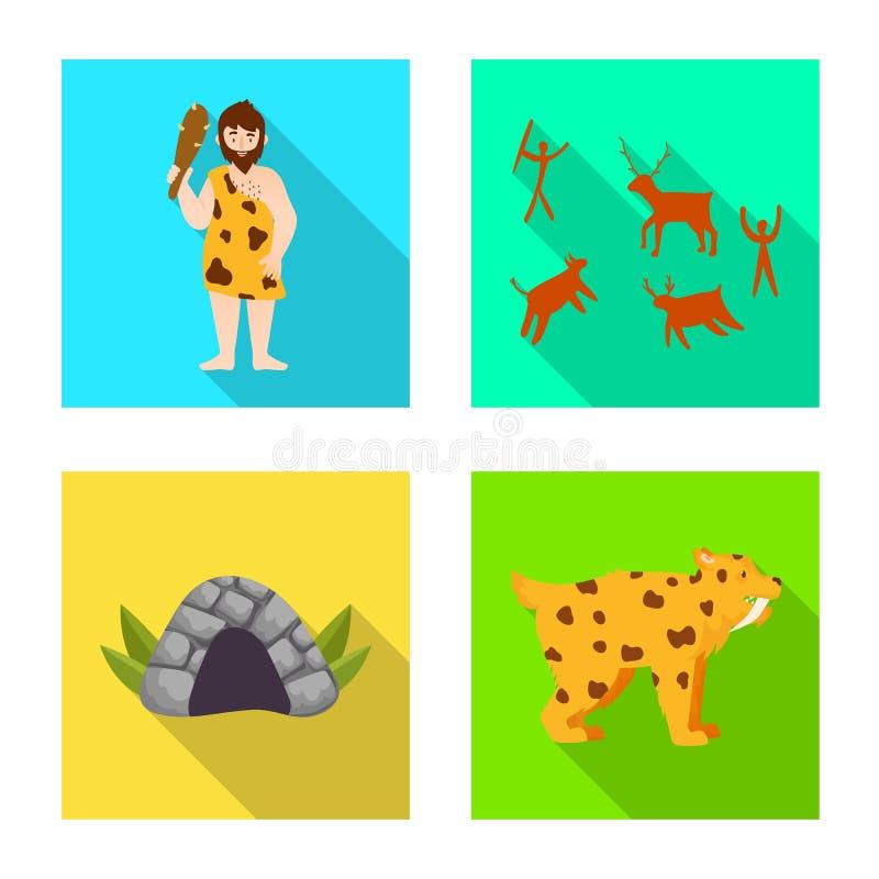 Vectorontwerp van evolutie en neolithisch teken Reeks van evolutie en ongerepte voorraad vectorillustratie stock illustratie