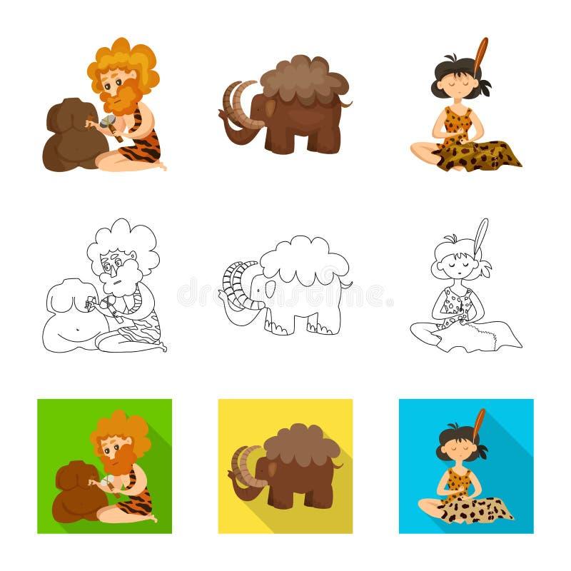 Vectorontwerp van evolutie en voorgeschiedenisembleem Inzameling van evolutie en ontwikkelingsvoorraadsymbool voor Web stock illustratie