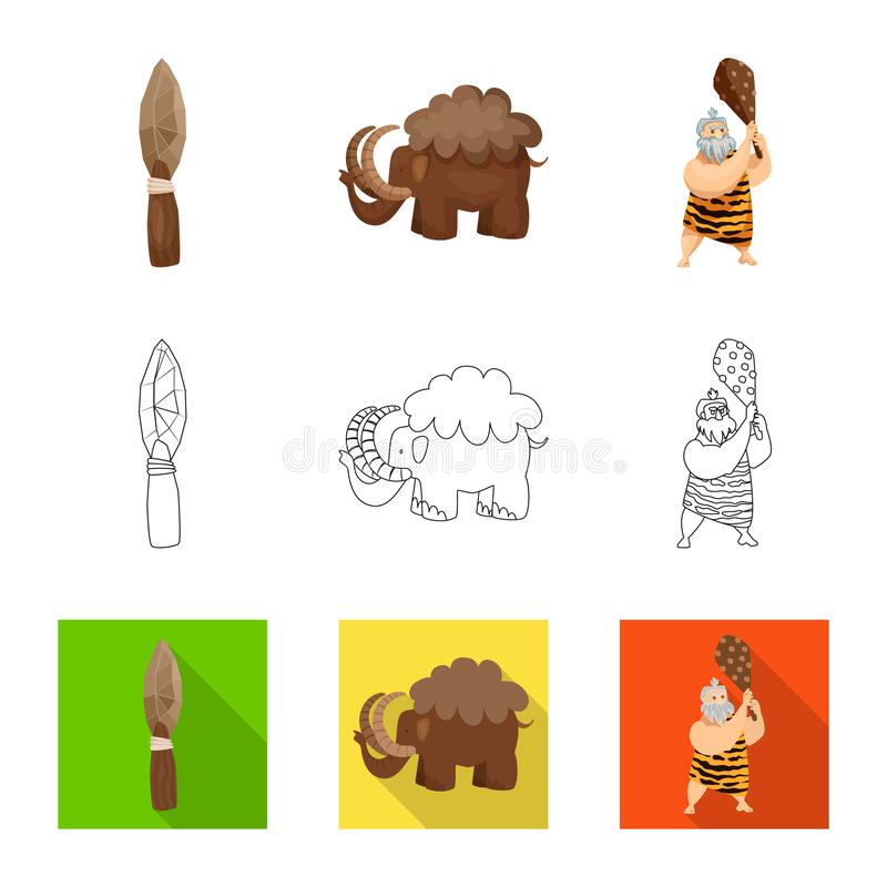 Vectorontwerp van evolutie en voorgeschiedenisembleem Reeks van evolutie en de vectorillustratie van de ontwikkelingsvoorraad vector illustratie