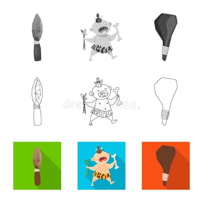 Vectorontwerp van evolutie en voorgeschiedenispictogram Inzameling van evolutie en ontwikkelings vectorpictogram voor voorraad royalty-vrije illustratie