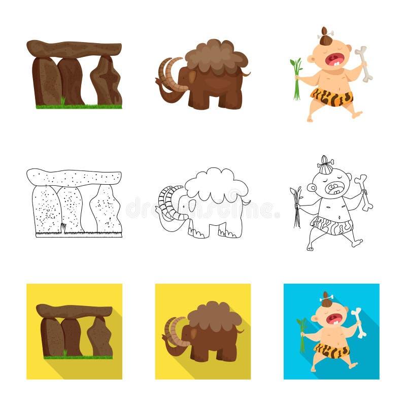 Vectorontwerp van evolutie en voorgeschiedenissymbool Inzameling van evolutie en ontwikkelings vectorpictogram voor voorraad royalty-vrije illustratie