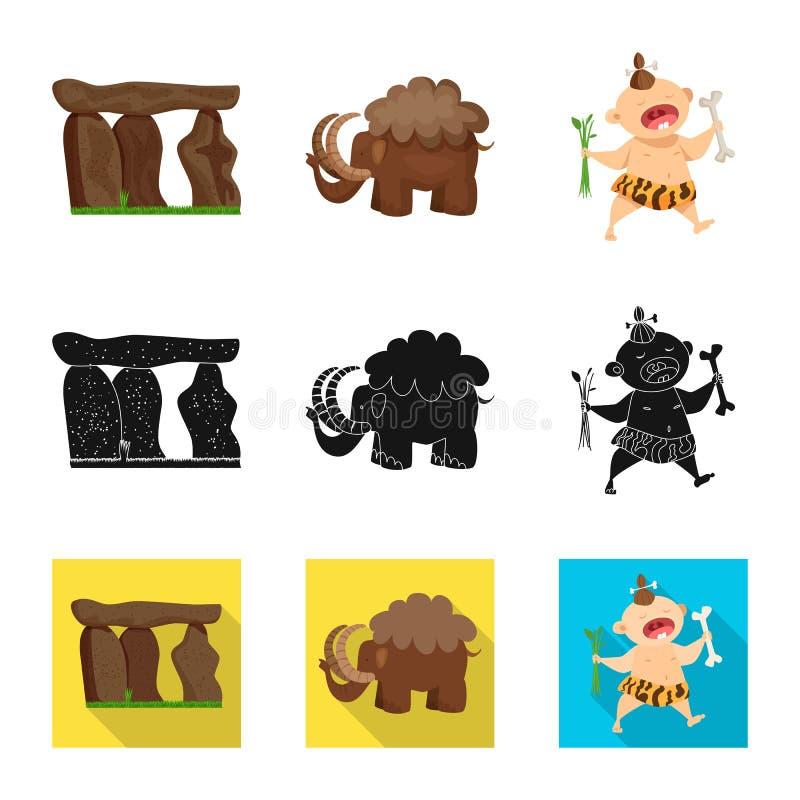 Vectorontwerp van evolutie en voorgeschiedenisteken Inzameling van evolutie en ontwikkelings vectorpictogram voor voorraad royalty-vrije illustratie