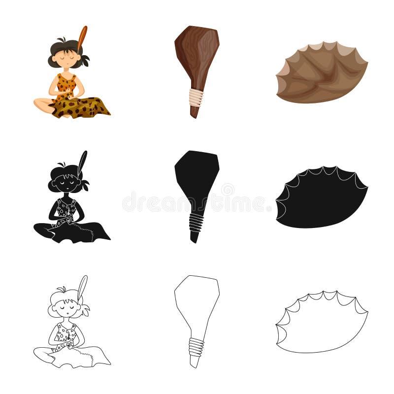 Vectorontwerp van evolutie en voorgeschiedenisteken Inzameling van evolutie en ontwikkelings vectorpictogram voor voorraad stock illustratie