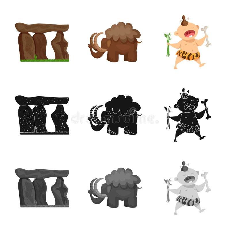 Vectorontwerp van evolutie en voorgeschiedenisteken Reeks van evolutie en de vectorillustratie van de ontwikkelingsvoorraad royalty-vrije illustratie