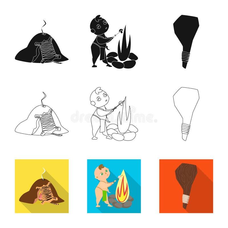 Vectorontwerp van evolutie en voorgeschiedenisteken Reeks van evolutie en ontwikkelings vectorpictogram voor voorraad vector illustratie