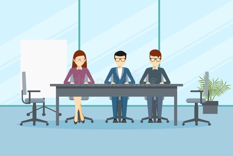 Vectorontwerp van foldervergadering of beheer in bureau stock illustratie
