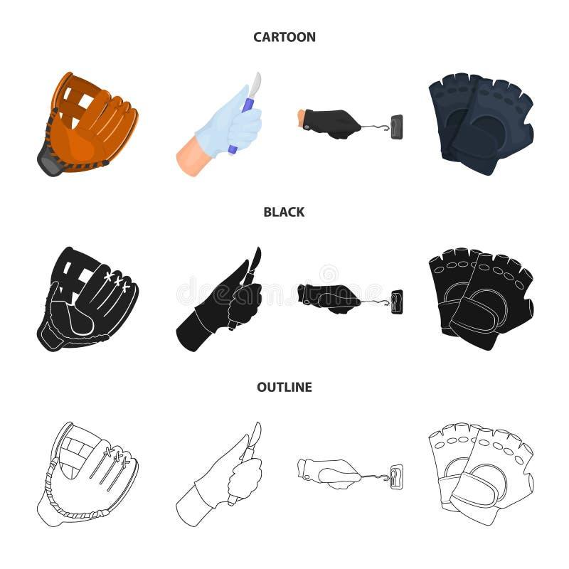 Vectorontwerp van gebreid en bewaarderssymbool Reeks van de gebreide en vectorillustratie van de handvoorraad stock illustratie