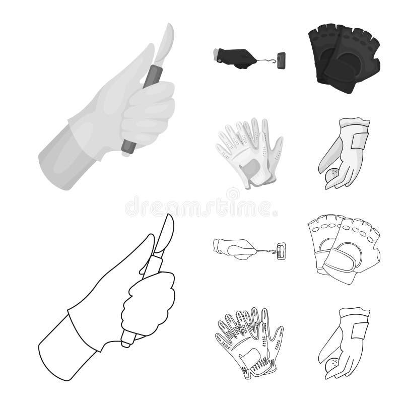Vectorontwerp van gebreid en bewaardersteken Reeks van de gebreide en vectorillustratie van de handvoorraad stock illustratie