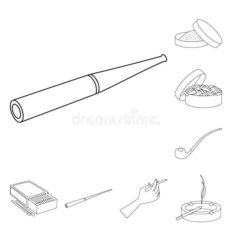 Vectorontwerp van gezondheid en nicotinesymbool Inzameling van gezondheid en van de statistiekenvoorraad vectorillustratie royalty-vrije illustratie