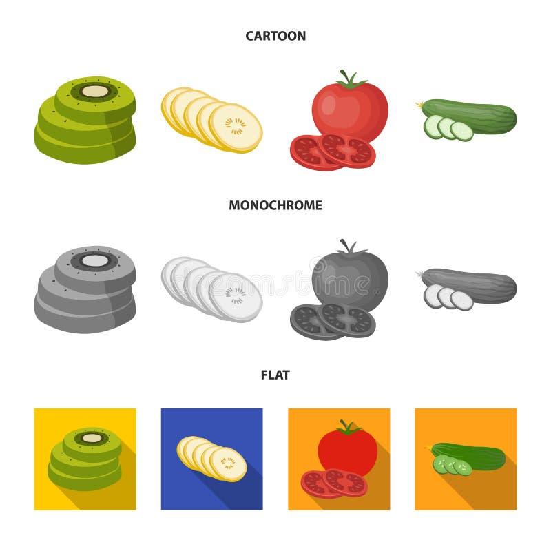 Vectorontwerp van groente en fruitteken Inzameling van groente en voedselvoorraadsymbool voor Web royalty-vrije illustratie