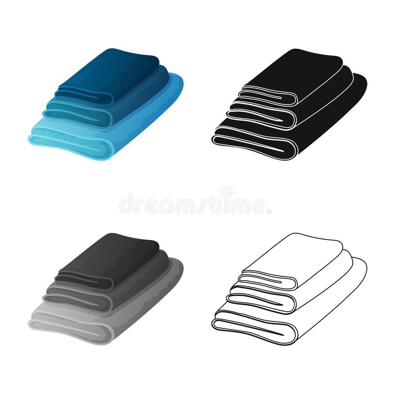 Vectorontwerp van handdoek en opgestapeld teken Reeks van handdoek en douchevoorraad vectorillustratie stock illustratie