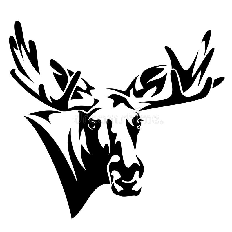 Vectorontwerp van het Amerikaanse elanden het hoofd vooraanzicht vector illustratie
