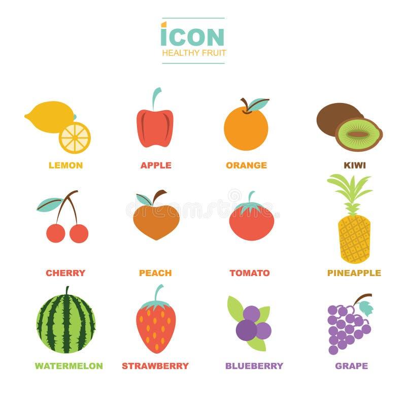Vectorontwerp van het pictogram het gezonde fruit vector illustratie