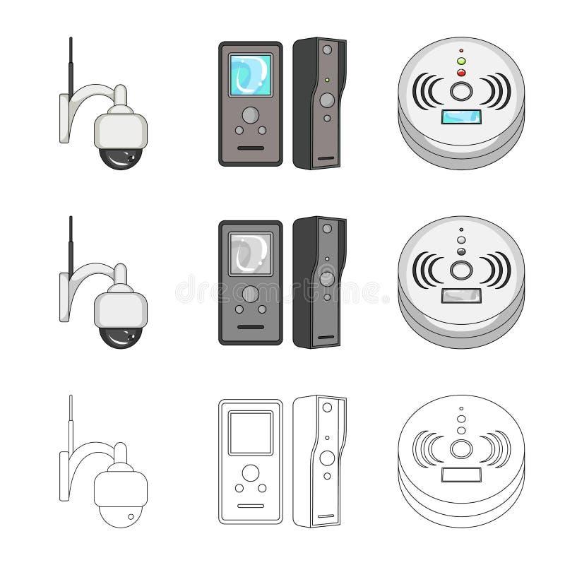 Vectorontwerp van het teken van kabeltelevisie en van de camera Reeks van kabeltelevisie en het symbool van de systeemvoorraad vo vector illustratie