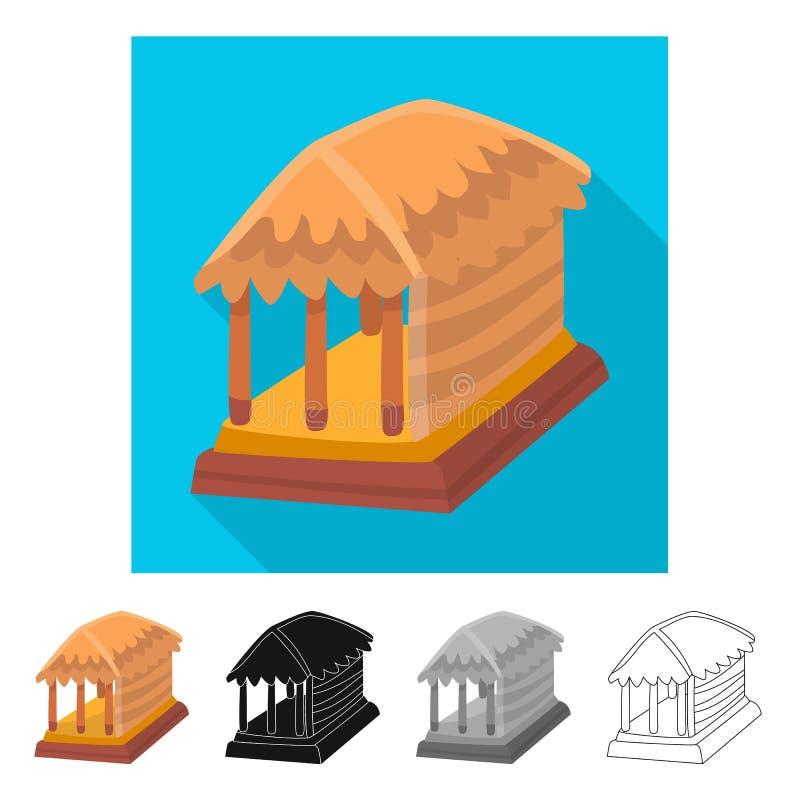 Vectorontwerp van hut en huisembleem Inzameling van hut en gazebovoorraadsymbool voor Web vector illustratie