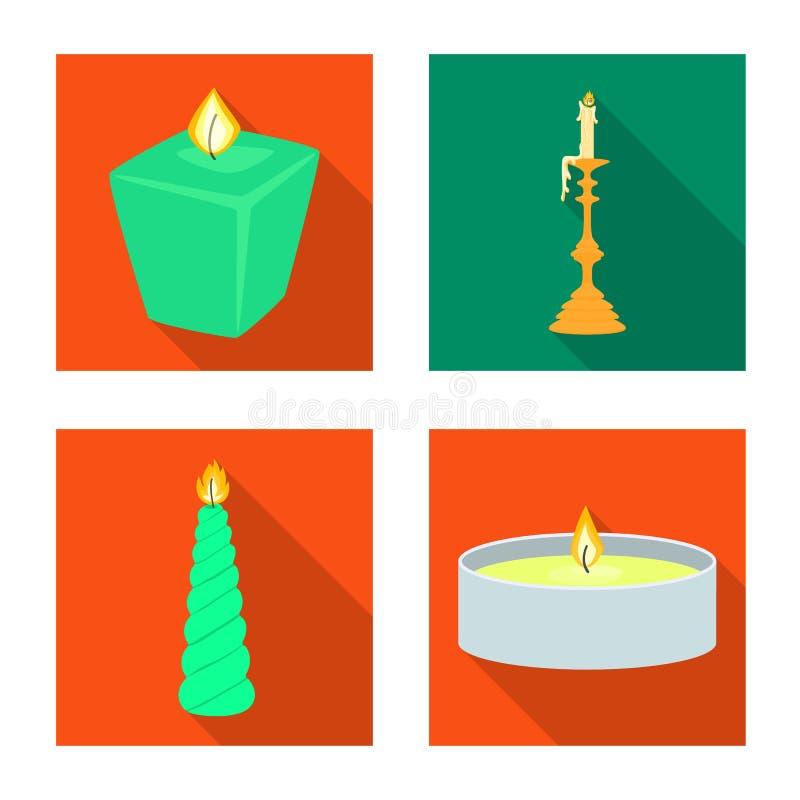 Vectorontwerp van kaarslicht en decoratieembleem Inzameling van kaarslicht en vlam vectorpictogram voor voorraad royalty-vrije illustratie