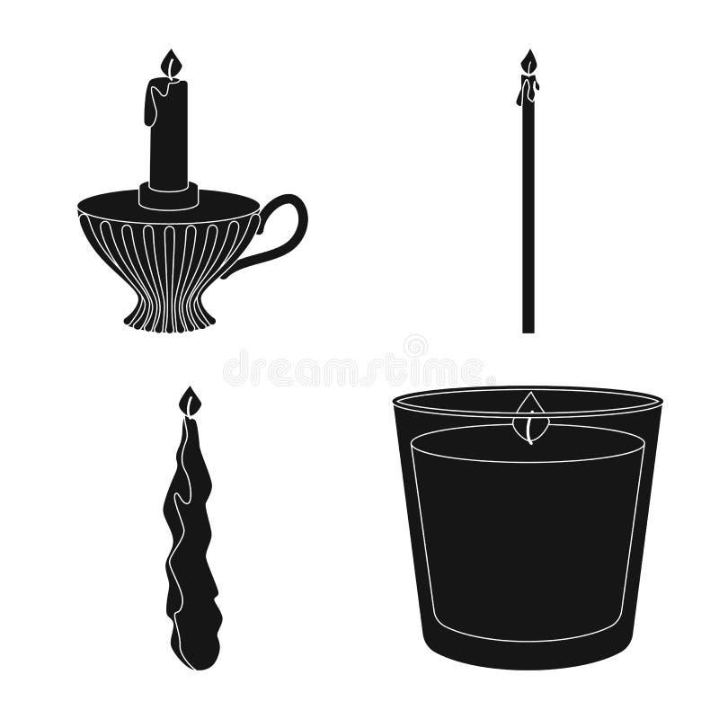 Vectorontwerp van kaarslicht en decoratiepictogram Inzameling van kaarslicht en de vectorillustratie van de wasvoorraad royalty-vrije illustratie
