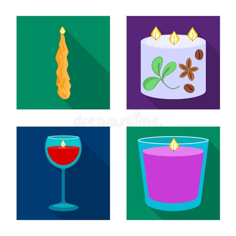 Vectorontwerp van kaarslicht en decoratiepictogram Inzameling van kaarslicht en het symbool van de vlamvoorraad voor Web stock illustratie