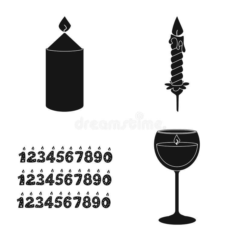 Vectorontwerp van kaarslicht en decoratiepictogram Reeks van kaarslicht en was vectorpictogram voor voorraad stock illustratie
