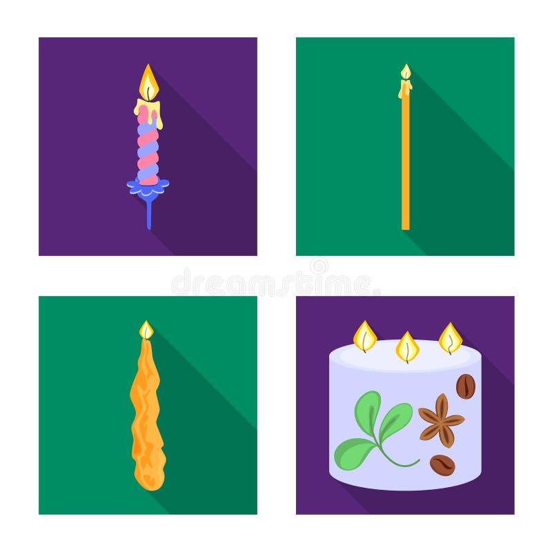 Vectorontwerp van kaarslicht en decoratiesymbool Inzameling van kaarslicht en het symbool van de vlamvoorraad voor Web vector illustratie