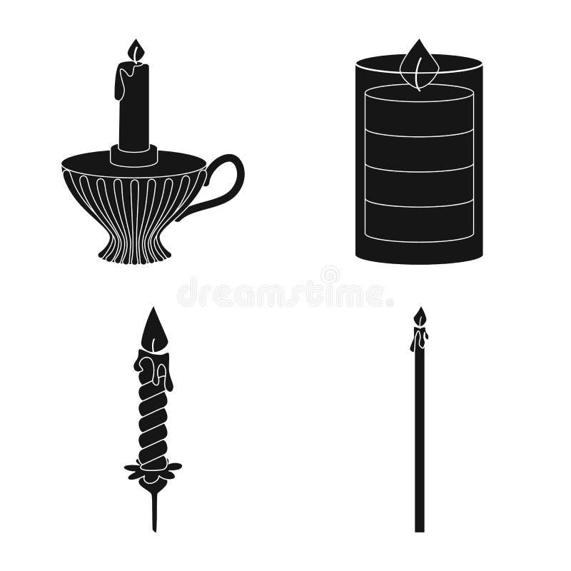 Vectorontwerp van kaarslicht en decoratiesymbool Reeks van kaarslicht en de vectorillustratie van de wasvoorraad stock illustratie
