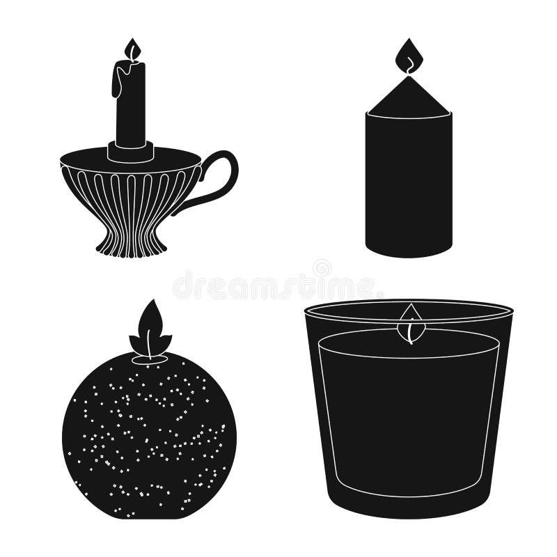 Vectorontwerp van kaarslicht en decoratiesymbool Reeks van kaarslicht en was vectorpictogram voor voorraad stock illustratie