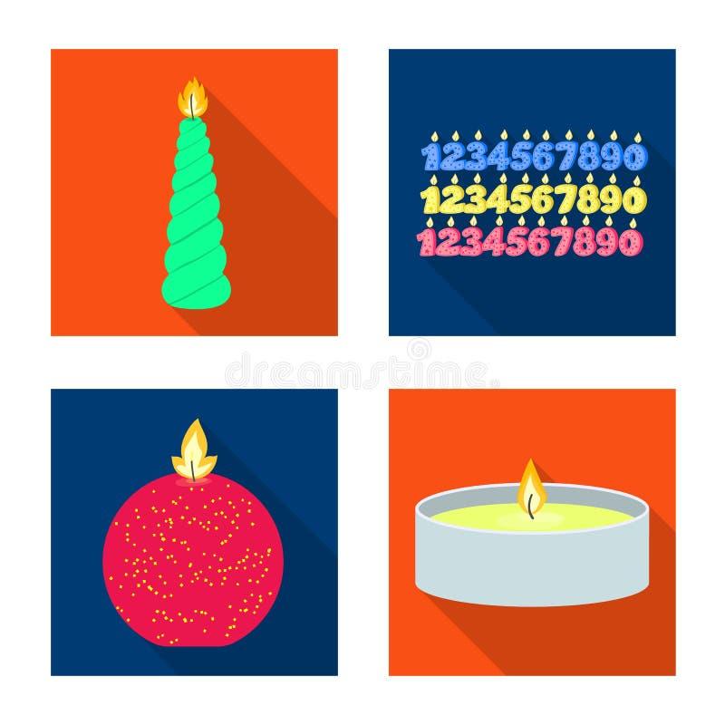 Vectorontwerp van kaarslicht en decoratieteken Reeks van kaarslicht en vlam vectorpictogram voor voorraad royalty-vrije illustratie