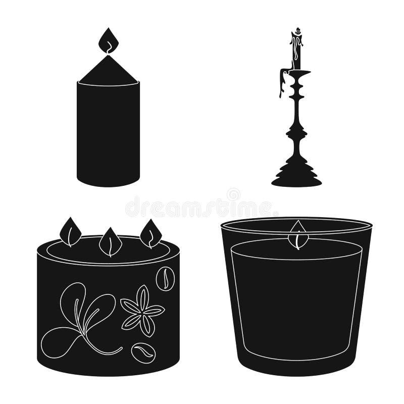 Vectorontwerp van kaarslicht en decoratieteken Reeks van kaarslicht en was vectorpictogram voor voorraad royalty-vrije illustratie
