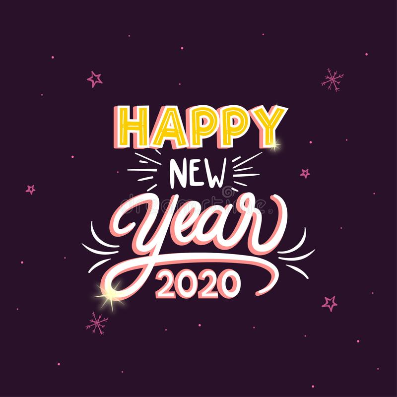 Vectorontwerp van kleurrijk ontwerp van de groeten van het Gelukkig Nieuwjaar 2020 stock illustratie